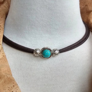 Cork Choker Brown with Turquoise Bead - Naturally Anti-Microbial Hypoallergenic Sustainable Eco-Friendly Cork