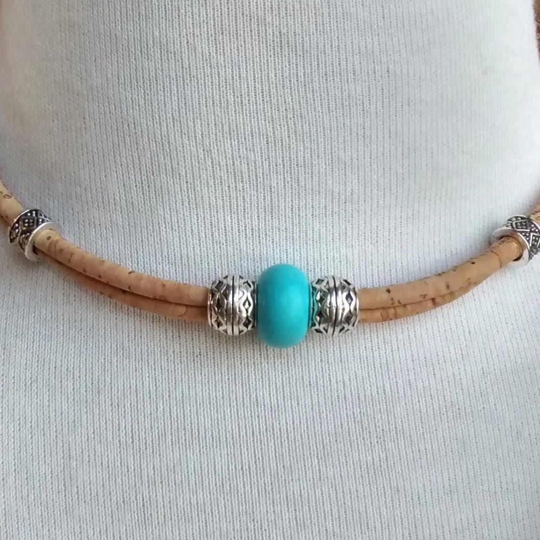 Cork Choker Natural with Single Turquoise Bead - Naturally Anti-Microbial Hypoallergenic Sustainable Eco-Friendly Cork