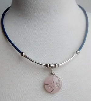 Cork Choker Navy with Rose Stone - Naturally Anti-Microbial Hypoallergenic Sustainable Eco-Friendly Cork