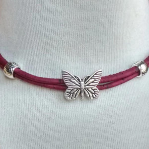 Cork Choker Red with Butterfly Charm - Naturally Anti-Microbial Hypoallergenic Sustainable Eco-Friendly Cork