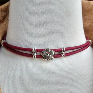 Cork Choker Red with Flower Charm - Naturally Anti-Microbial Hypoallergenic Sustainable Eco-Friendly Cork