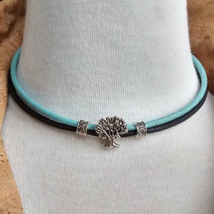 Cork Choker Turquoise/Black with Tree of Life Charm - Naturally Anti-Microbial Hypoallergenic Sustainable Eco-Friendly Cork