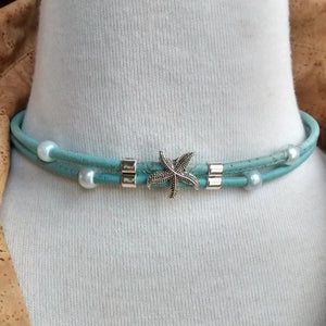 Cork Choker Turquoise with Starfish Charm - Naturally Anti-Microbial Hypoallergenic Sustainable Eco-Friendly Cork