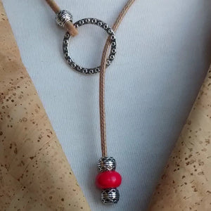 Cork Necklace Adjustable Natural with Red Bead - Naturally Anti-Microbial Hypoallergenic Sustainable Eco-Friendly Cork