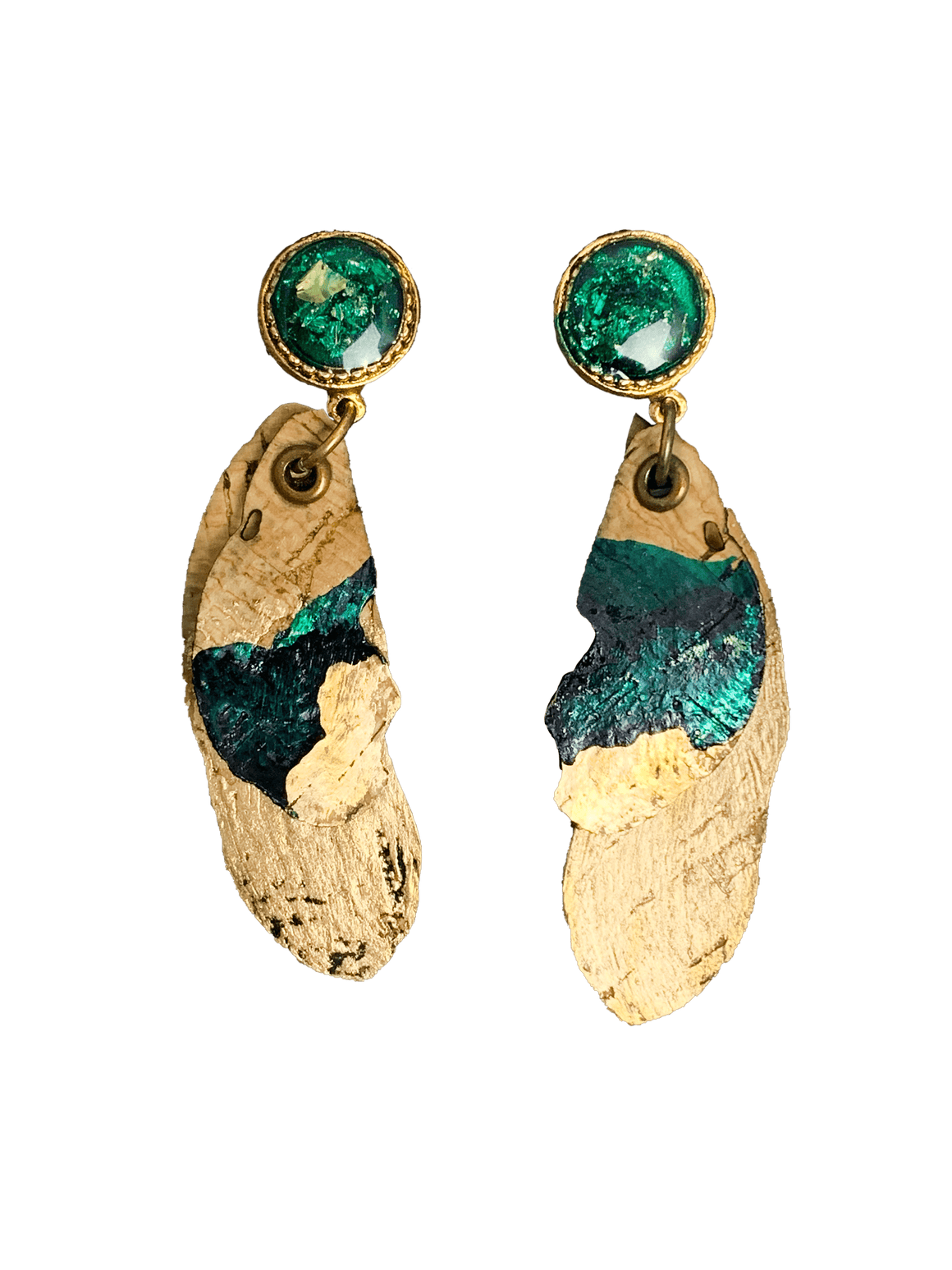 2 Cork Leaf Post Earrings with Resin - Naturally Anti-Microbial Hypoallergenic Sustainable Eco-Friendly Cork