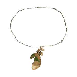 3 Cork Leaf Necklace with Vintage Acorn Finding - Naturally Anti-Microbial Hypoallergenic Sustainable Eco-Friendly Cork