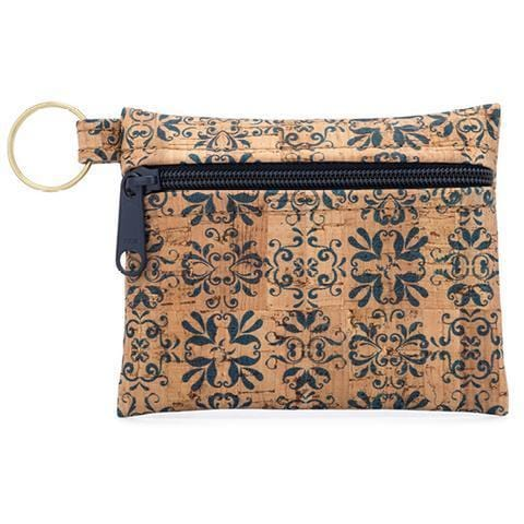 Zip Pouch Key Chain - Navy Tile Print - Naturally Anti-Microbial Hypoallergenic Sustainable Eco-Friendly Cork