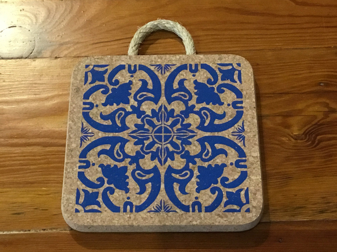 Blue Print Large Cork Trivet with Rope Handle - Naturally Anti-Microbial Hypoallergenic Sustainable Eco-Friendly Cork
