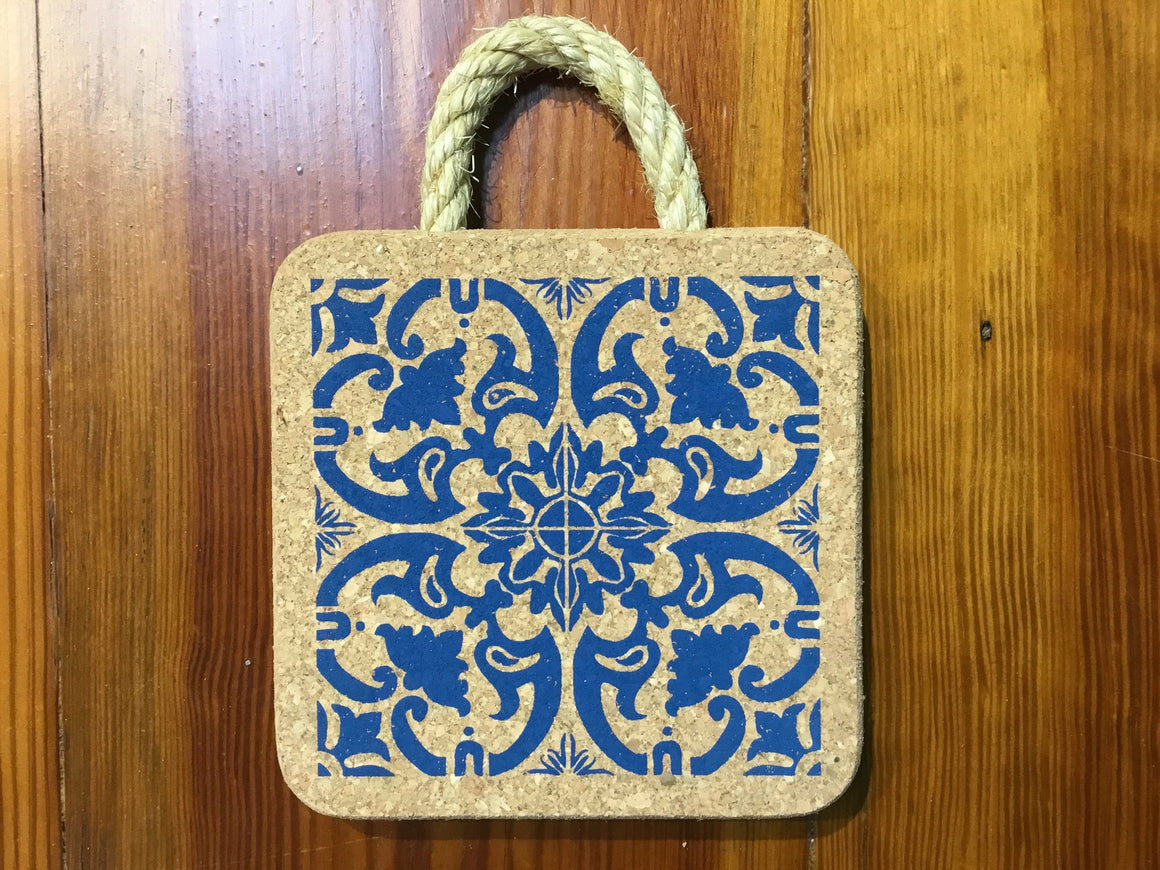 The Cork House Blue Print Small Cork Trivet with Rope Handle