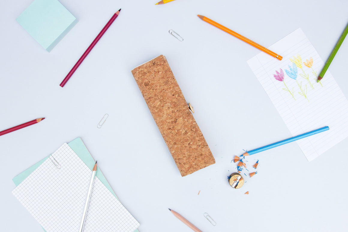 Cork Wrap Pencil Case - Naturally Anti-Microbial Hypoallergenic Sustainable Eco-Friendly Cork