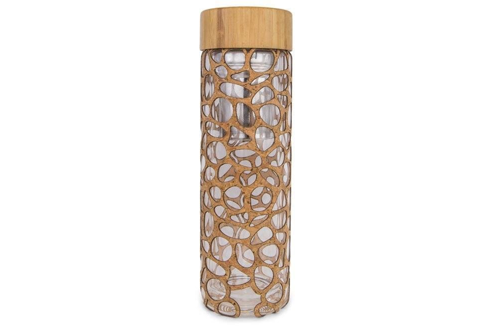 Glass Tea Infuser - Riverstone - Naturally Anti-Microbial Hypoallergenic Sustainable Eco-Friendly Cork