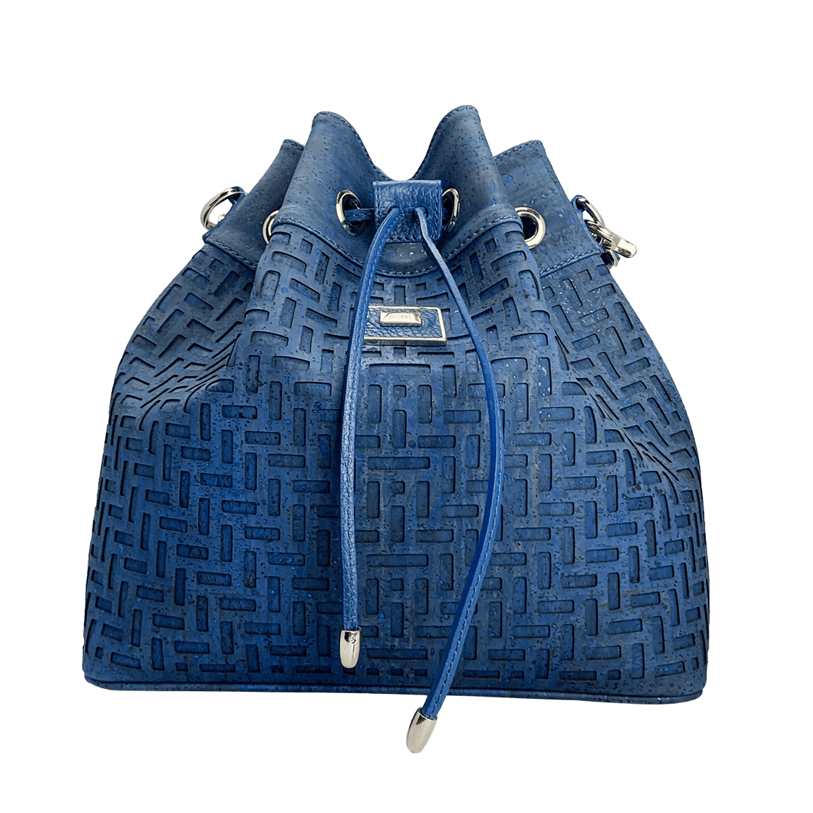 Artipel Drawstring Backpack with Cutouts - Blue - Naturally Anti-Microbial Hypoallergenic Sustainable Eco-Friendly Cork