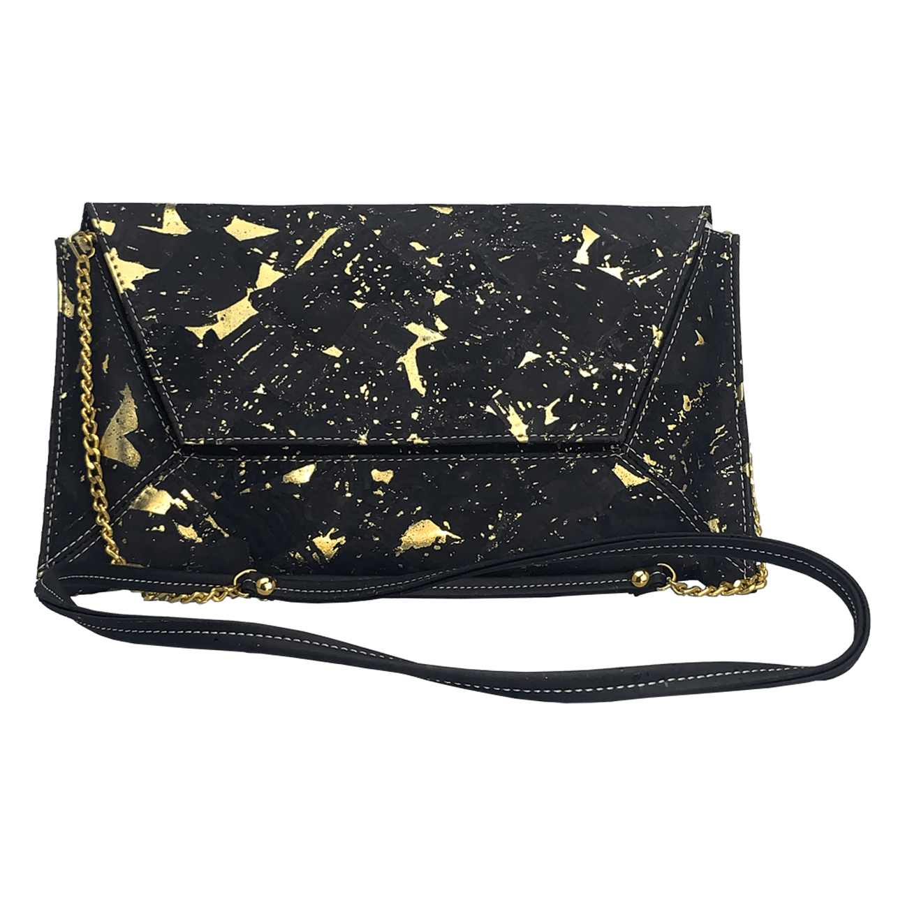 Golden Black Clutch with Chain Strap - Naturally Anti-Microbial Hypoallergenic Sustainable Eco-Friendly Cork