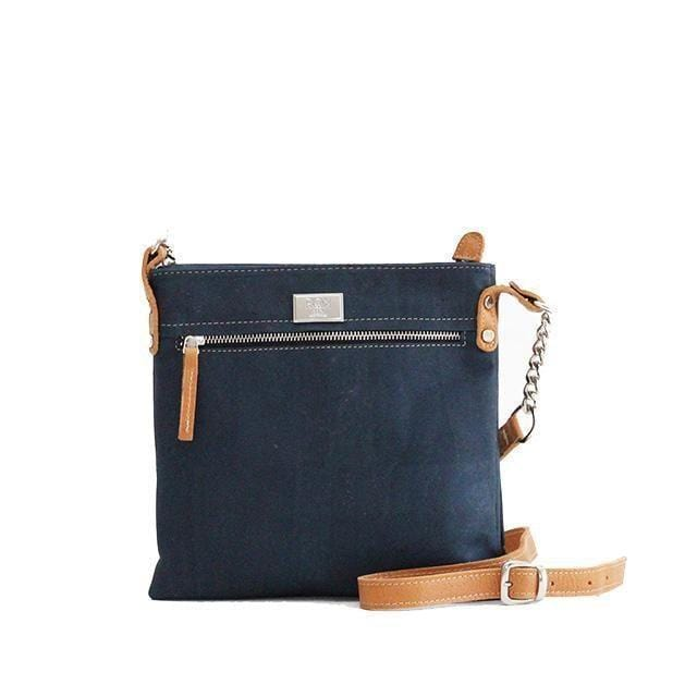 ROK Cork Candace Cross Body Bag - Navy/Beige - Naturally Anti-Microbial Hypoallergenic Sustainable Eco-Friendly Cork