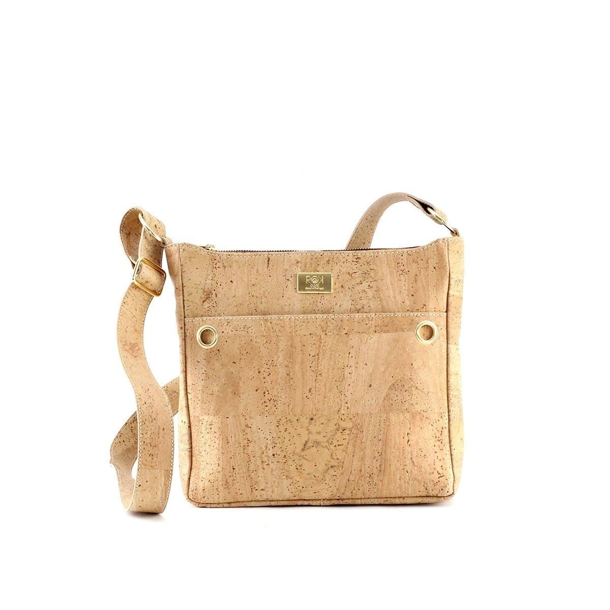 ROK Cork Hailey Messenger Bag - Natural - Naturally Anti-Microbial Hypoallergenic Sustainable Eco-Friendly Cork