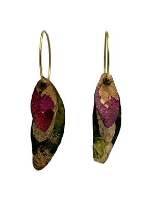 Hoop Earrings - 3 Cork Oak Leaves - Naturally Anti-Microbial Hypoallergenic Sustainable Eco-Friendly Cork