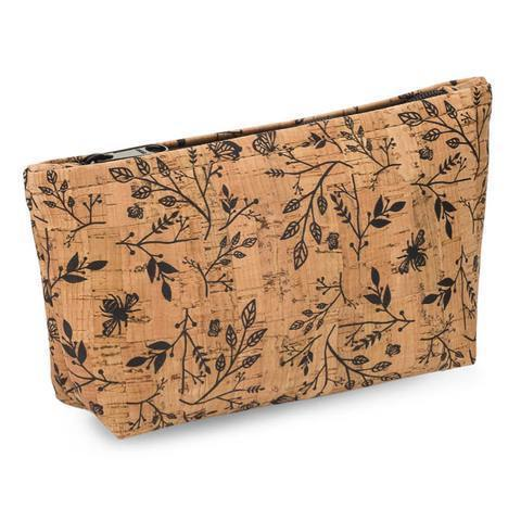 Large Zip Pouch - Black Floral Print - Naturally Anti-Microbial Hypoallergenic Sustainable Eco-Friendly Cork