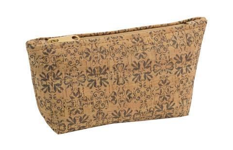 Large Zip Pouch - Mammoth Tile Print - Naturally Anti-Microbial Hypoallergenic Sustainable Eco-Friendly Cork