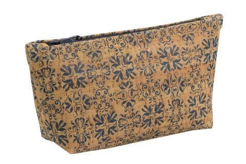 Large Zip Pouch - Navy Tile Print - Naturally Anti-Microbial Hypoallergenic Sustainable Eco-Friendly Cork