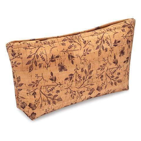 Large Zip Pouch - Wine Floral Print - Naturally Anti-Microbial Hypoallergenic Sustainable Eco-Friendly Cork