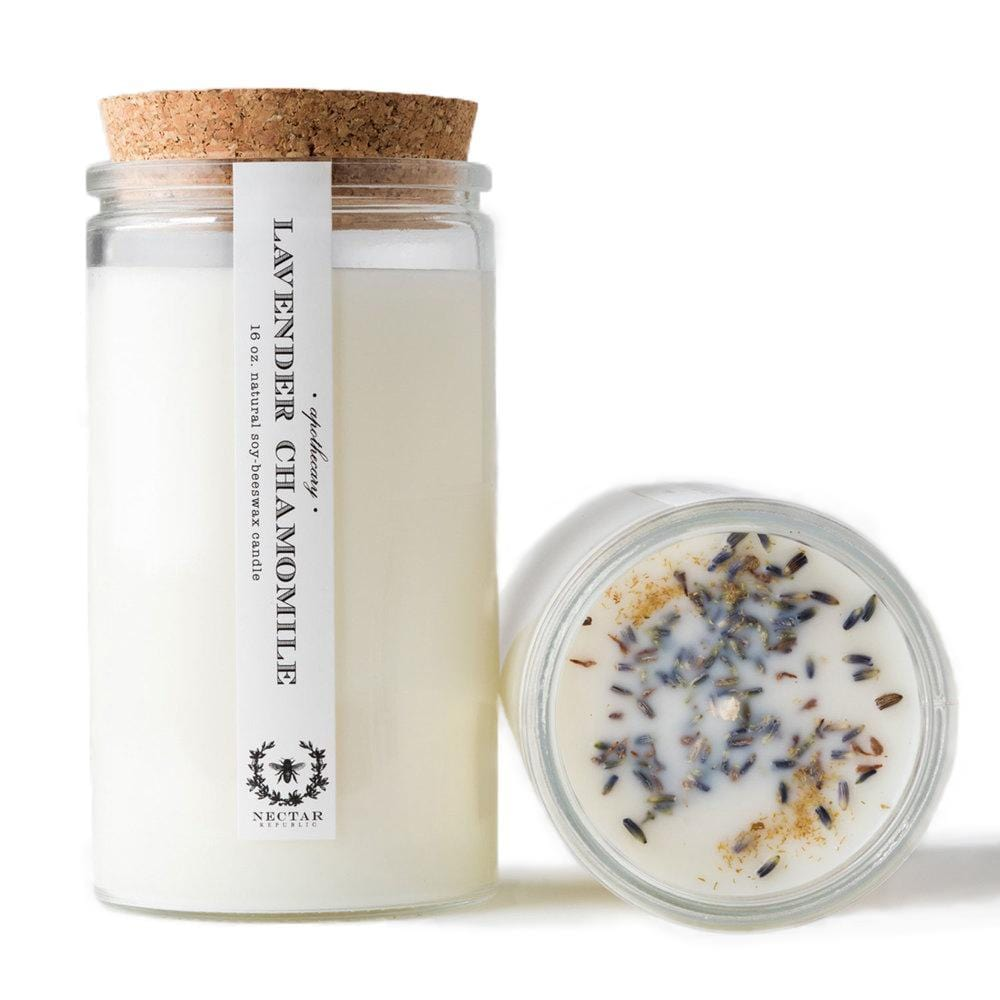 Lavender Chamomile Candle - Naturally Anti-Microbial Hypoallergenic Sustainable Eco-Friendly Cork