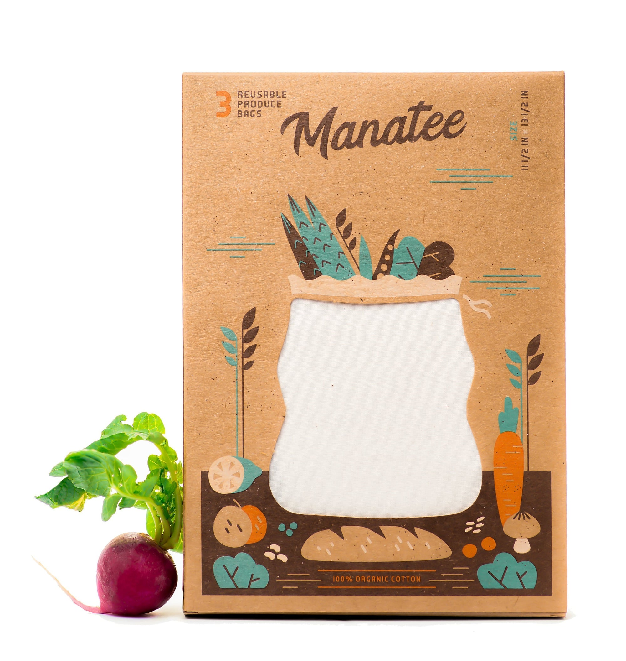 Manatee Bags - Set of 3 Organic Cotton Produce Bags - Naturally Anti-Microbial Hypoallergenic Sustainable Eco-Friendly Cork