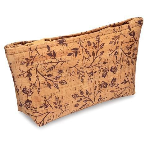 Medium Zip Pouch - Wine Floral Print - Naturally Anti-Microbial Hypoallergenic Sustainable Eco-Friendly Cork