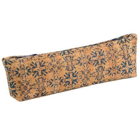 Pencil Case - Navy Tile Print - Naturally Anti-Microbial Hypoallergenic Sustainable Eco-Friendly Cork