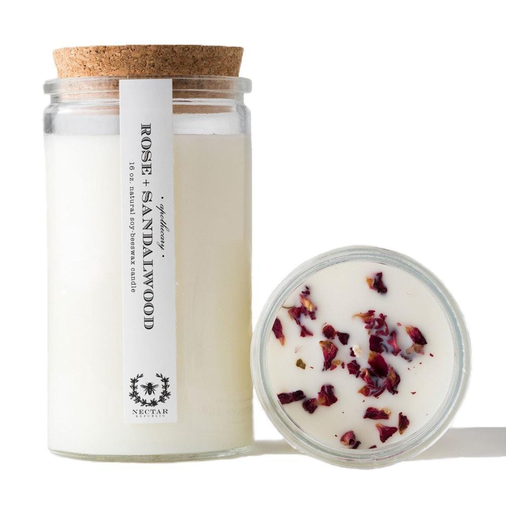 Rose Sandalwood Candle - Naturally Anti-Microbial Hypoallergenic Sustainable Eco-Friendly Cork