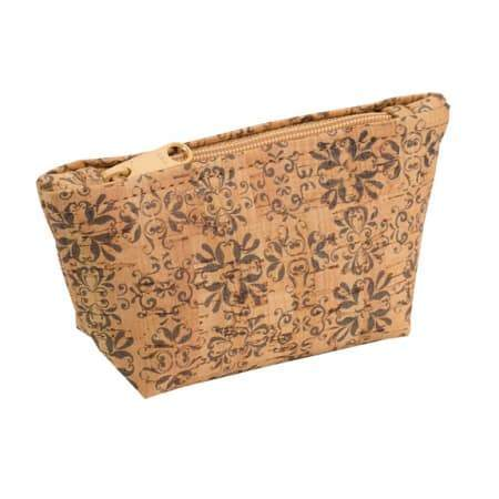Small Zip Pouch - Mammoth Tile Print - Naturally Anti-Microbial Hypoallergenic Sustainable Eco-Friendly Cork