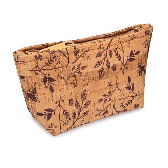 Small Zip Pouch - Wine Floral Print - Naturally Anti-Microbial Hypoallergenic Sustainable Eco-Friendly Cork