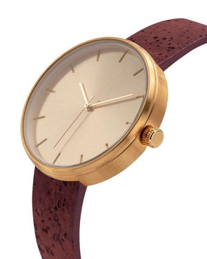 Somm Collection Watch - Gold Hardware/Cherry Cork Band/Gold Body - Naturally Anti-Microbial Hypoallergenic Sustainable Eco-Friendly Cork