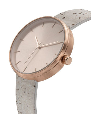 Somm Collection Watch - Rose Hardware/White Cork Band/Rose Body - Naturally Anti-Microbial Hypoallergenic Sustainable Eco-Friendly Cork