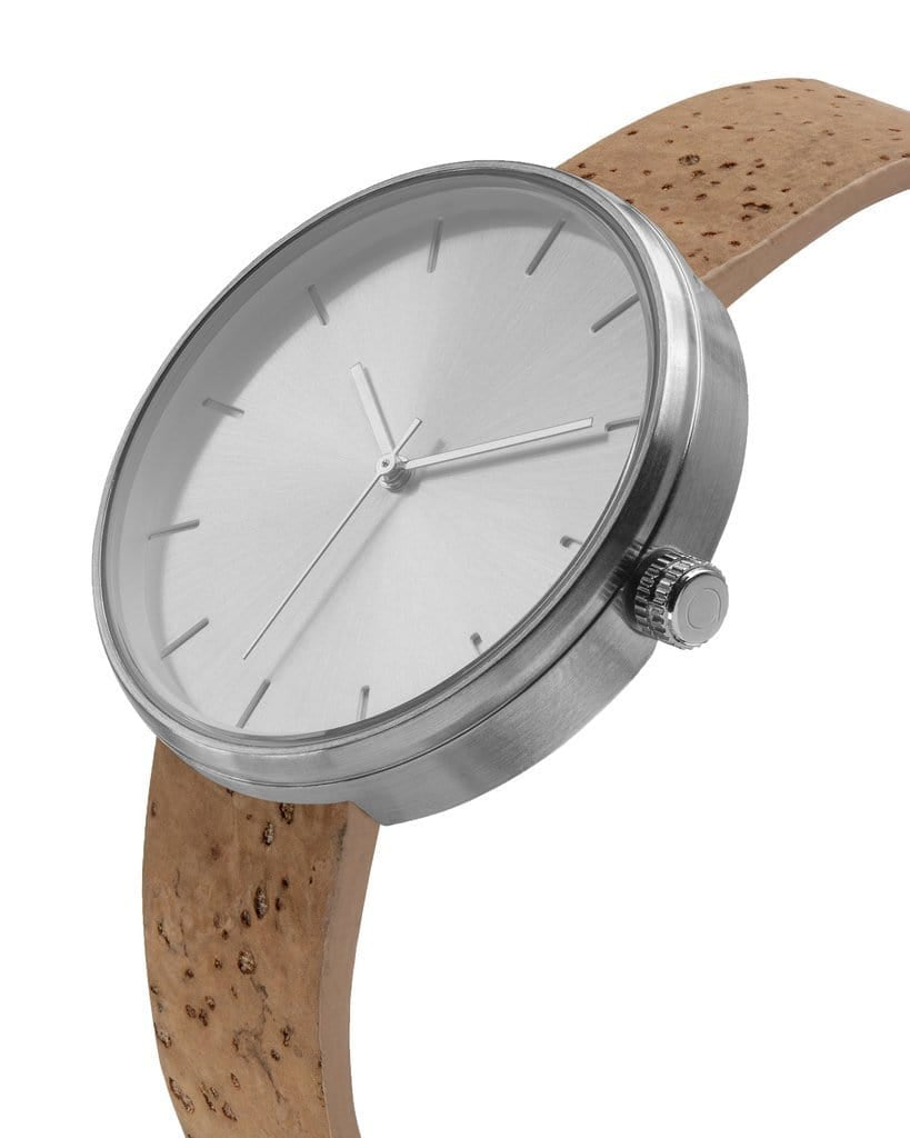 Somm Collection Watch - Silver Hardware/Tan Cork Band/Silver Body - Naturally Anti-Microbial Hypoallergenic Sustainable Eco-Friendly Cork