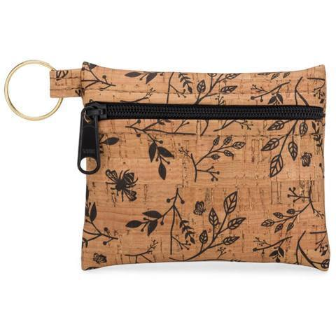 Zip Pouch Key Chain - Black Floral Print - Naturally Anti-Microbial Hypoallergenic Sustainable Eco-Friendly Cork
