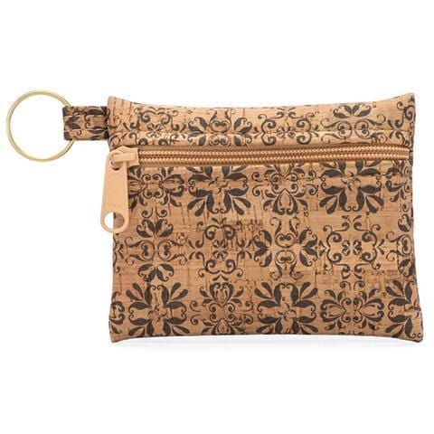 Zip Pouch Key Chain - Mammoth Tile Print - Naturally Anti-Microbial Hypoallergenic Sustainable Eco-Friendly Cork