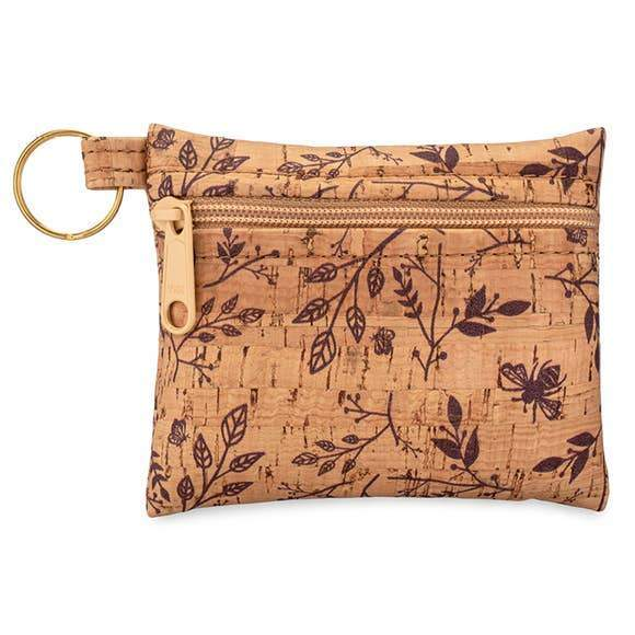 Zip Pouch Key Chain - Wine Floral - Naturally Anti-Microbial Hypoallergenic Sustainable Eco-Friendly Cork