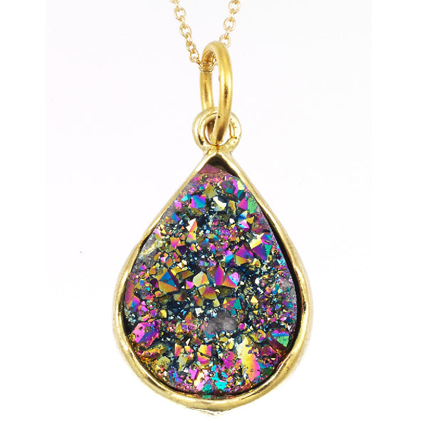 Druzy Rainbow Crystal Gemstone Pendant-18mm Rainbow Crystal Gemstone Pendant