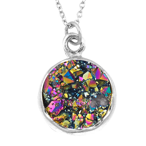 Druzy Rainbow Color Round Crystal Pendant- 10 mm Rainbow Color Round Pendant