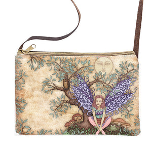 Forest Fairy Dan Morris Graphic Print Zipper Sling Purse