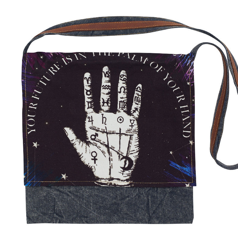 Palmistry Graphic Print Messenger Bag-Out of Stock On Order-Get on List & Pre- Pay