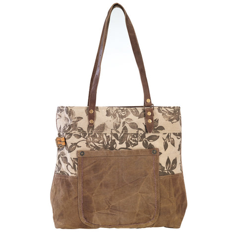 Floral Canvas & Repurposed Military Tent Tote