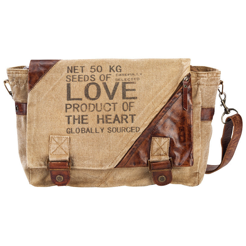 Seeds of Love  Canvas & Repurposed Military Tent  Bag