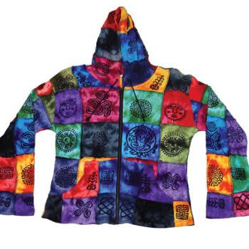 Block Style Multi Colored  Hooded Handmade Women's Jacket
