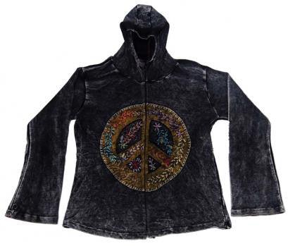 Spirals  & Floral Pattern  Hooded Women's Jacket