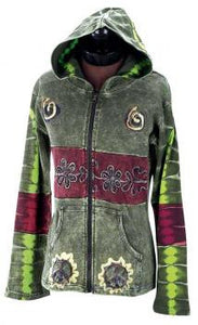 For Peace Green Multi Colored Hooded Women's Jacket