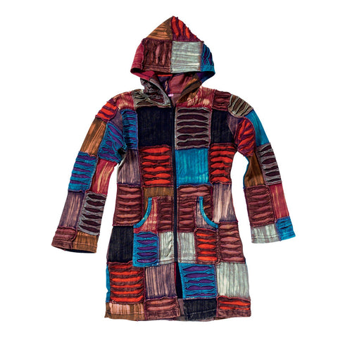 Patch Style  Women's  Hooded Handmade Jacket  -Long