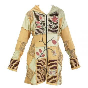 Beige Floral Pattern Handmade Women's Hooded Jacket-Long