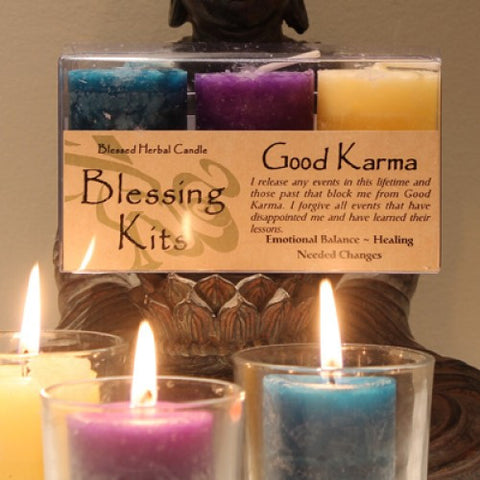 Reiki Charged Hand Poured Essential Oil Infused Good Karma Candle Blessing Kit