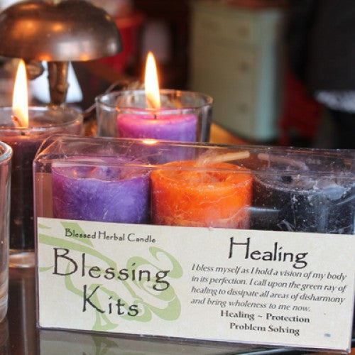 Reiki Charged  Hand Poured Essential Oil Infused  Healing Candle Blessing Kit